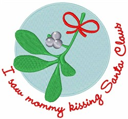 Mommy Kissing Santa embroidery design