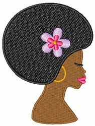 Woman with Afro embroidery design
