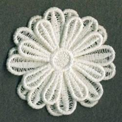 3D FSL White Flower embroidery design