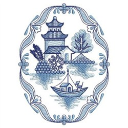 Blue Willow Boat Embroidery Design