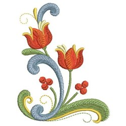 Rosemaling Floral embroidery design