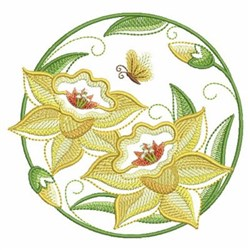 Yellow Floral Circle embroidery design
