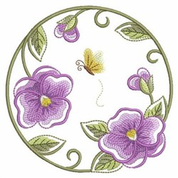 Purple Floral Circle embroidery design