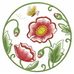 Red Poppies Circle embroidery design