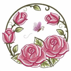 Pink Roses Circle embroidery design