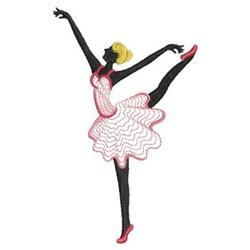 Rippled Ballerina Silhouette embroidery design