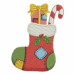 Patchwork Christmas Stocking embroidery design