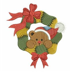 Patchwork Christmas Wreath embroidery design