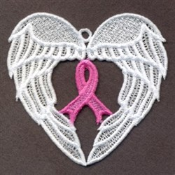 FSL Pink Ribbon Wings embroidery design