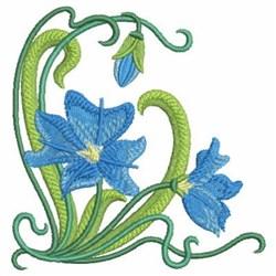 Art Nouveau Blue Wildflowers embroidery design