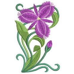 Art Nouveau Purple Wildflowers embroidery design