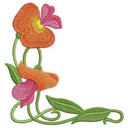 Art Nouveau Orange Wildflowers embroidery design