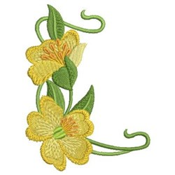 Art Nouveau Yellow Wildflowers embroidery design