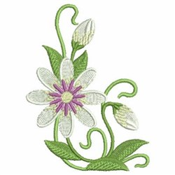 Art Nouveau White Wildflowers embroidery design