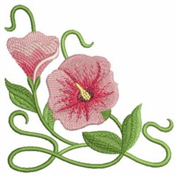 Art Nouveau Pink Wildflowers embroidery design