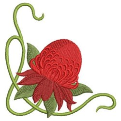 Art Nouveau Red Wildflowers embroidery design