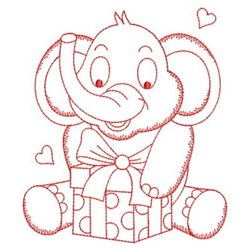 Redwork Elephant & Gift embroidery design