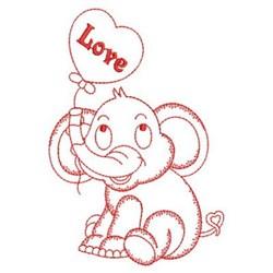 Redwork Elephant & Balloon embroidery design