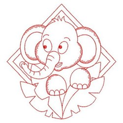 Redwork Baby Elephant embroidery design