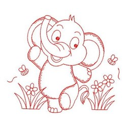 Redwork Elephant & Flowers embroidery design