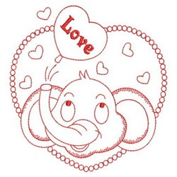Redwork Elephant Love embroidery design