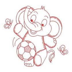 Redwork Elephant Plays Soccer embroidery design