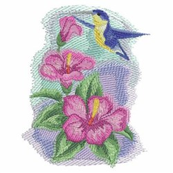 Watercolor Hibiscuses & Hummingbird embroidery design