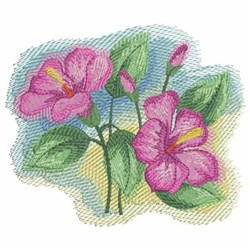 Watercolor Pink Hibiscuses embroidery design