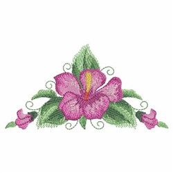 Watercolor Hibiscuses Corner embroidery design