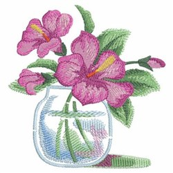 Watercolor Hibiscuses Vase embroidery design