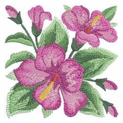 Watercolor Hibiscuses Block embroidery design