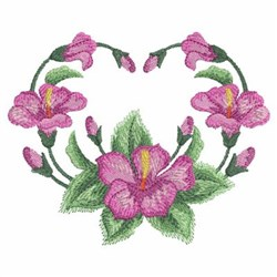 Watercolor Hibiscuses Heart embroidery design