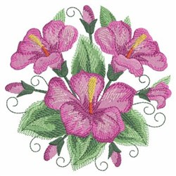 Watercolor Hibiscuses Circle embroidery design