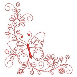 Redwork Floral Butterfly embroidery design
