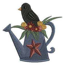 Crow & Watering Can embroidery design