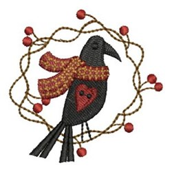 Country Crow & Scarf embroidery design