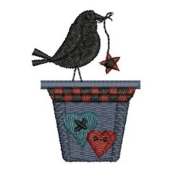 Country Crow & Flowerpot embroidery design