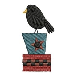 Primitive Country Crow embroidery design
