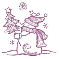 Simply Snowman & Tree embroidery design