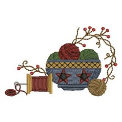 Country Sewing Bowl embroidery design