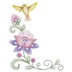 Yellow Hummingbird & Flowers embroidery design