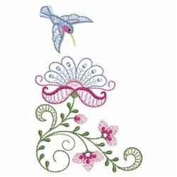 Rippled Hummingbird & Flowers embroidery design
