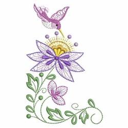 Hummingbird & Purple Flowers embroidery design