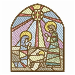 Stained Glass Nativity Manger embroidery design