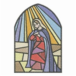 Stained Glass Nativity Prayer embroidery design