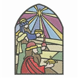 Stained Glass Nativity Gifts embroidery design