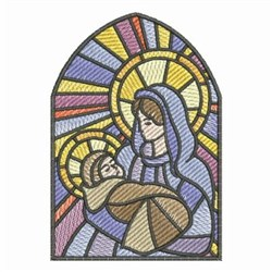Stained Glass Nativity Baby embroidery design