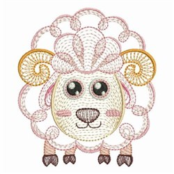 Rippled Baby Sheep embroidery design