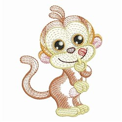 Rippled Baby Monkey embroidery design