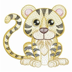 Rippled Baby Tiger embroidery design